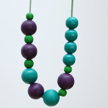 Teal turquoise and purple large necklace, chunky wooden beads, woodland necklace, wood hand painted abstract necklace