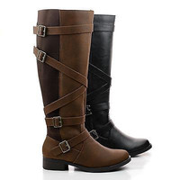 Dating Strappy Knee High Elastic Side Panels Moto Riding Boots