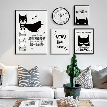 Batman Dark Knight gift Christmas 07G Black and White Simple DC Anime Hero Batman A4 A3 Canvas Art Painting Print Poster Picture Wall Children's Baby Room Decor AT_71_6