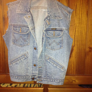 Vintage Wrangler Denim Vest womens L by MissPeacocks on Etsy