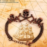 Cully Bracelet  - Antique Copper Pirate Wench Skull Crossbone