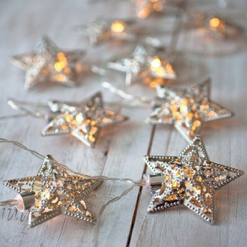 Battery Operated Silver or Gold LED Fairy String Lights 10 Metal Stars