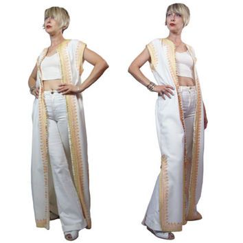 1970s Moroccan Sleeveless Caftan Style Maxi Vest Duster