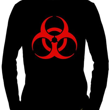 Red Bio-Hazard Radiation Men's Long Sleeve T-Shirt Cyber Goth Clothing