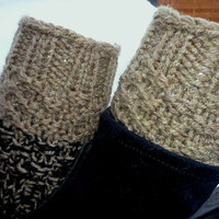 Knit Boot Cuff, 2 in 1 Knit Boot Cuff, coffe with milk and black color / chocolate-milk color and black,wellies boot cuff , leg warmers