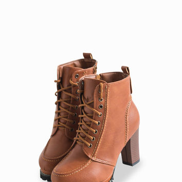 Fashionable Lace-Up Thick Heel Zipped Ankle Boots In Brown