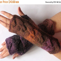 SALE Fingerless Gloves Mittens Brown Purple Wrist Warmers Knit