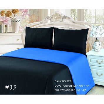 Tache 2-3 Piece Cotton Solid Deep Blue and Black Reversible Duvet Cover Set (TADC32PC)