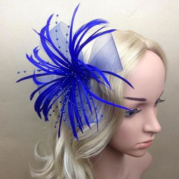 ICIKL3Z Women Curl Feather Fascinator Halloween Party Headband Clip Wedding Headpiece