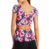 CROSS-BACK FLORAL PRINT PEPLUM TOP