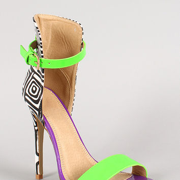 Two Tone Geometric Print Ankle Strap Open Toe Stiletto Heel