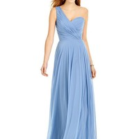 After Six by Dessy 6751 Floor Length One Shoulder Chiffon Bridesmaid Dress