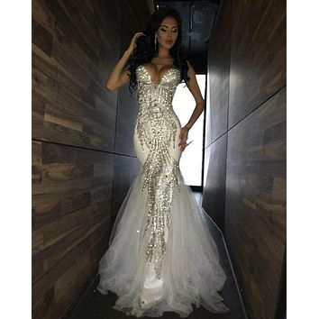 2017 Luxury Bling Sparkle Prom Dress Evening Dress Mermaid White Deep V-neck Beaded Crystal Long Tulle Prom Dresses Evening Gown