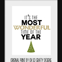 "Typography Print - Christmas Home Decor ""It's The Most Wonderful Time Of The Year"""