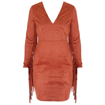Faux Suede Fringe Sleeve Mini Dress, Rust