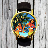 Aloha Watch | Hawaiian Dancers Watch | Leather Watch | Ladies Watch | Men's Watch | Gift for Her | Gift Idea | Custom Watch | Vintage