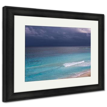 Framed Print, Stormy Weather Beautiful Turquoise Sea Under Dark Blue Clouds View From Above