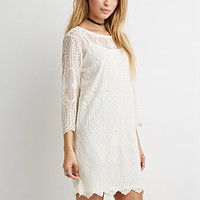 Embroidered-Mesh Shift Dress