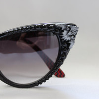 Limited Edition Cat Eye Filigree and Pearl Sunglasses with Case & Pouch