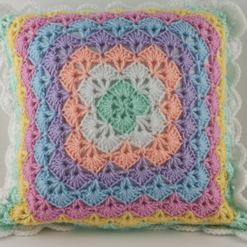 Pastel Pillow Case, Crochet Pillow Case, Accent Pillow, Baby Pillow, Baby's Room, Baby Decor, Throw Pillow, Cushion Cover