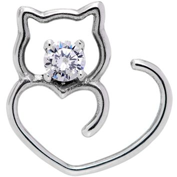 18 Gauge Clear CZ Gem Hey Pretty Kitty Closure Ring