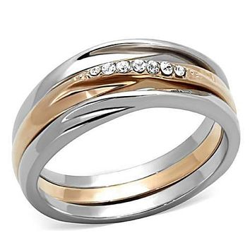 WildKlass Stainless Steel Ring Stackable Two-Tone IP Rose Gold Women Top Grade Crystal Clear