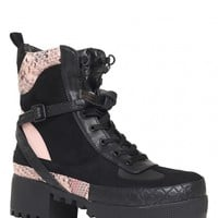 Decline Chunky Platform Lace Up Biker Ankle Boots In Black Faux Suede And Pink Snake PU