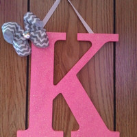 Pink glitter wood letter initial bow holder - monogram bow holder, bow holder for girls, chevron and pink glitter