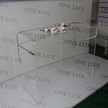 Waterfall Lucite Vanity  U Table,Acrylic console corner tables.Perspex  Office Desks ONE LUX