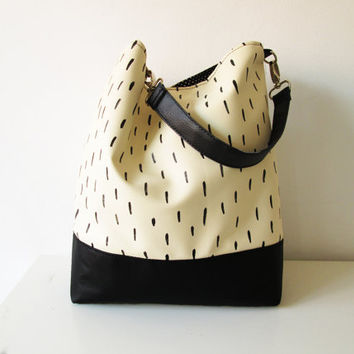Large Hobo bag, Cross body bag, Slouchy hobo, Brush strokes, Vegan Leather, Black and White, Printed Leather Bag