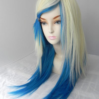 ON SALE / Summer Swim / Blonde and Aqua Bue / Long Straight Layered Wig