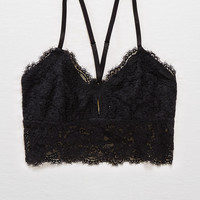 Aerie Romantic Lace Longline Bralette, True Black
