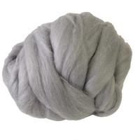 Merino Wool top fibre, dyed silver roving, 100g, Needle felting, wet felting, spinning, silver light grey