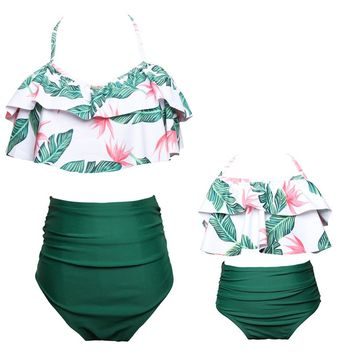 MVUPP mother daughter swimsuit family matching clothes outfits mommy and me bikini mom baby girl swimwear look clothing women