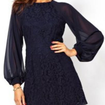 Sexy Women's Round Neck Lantern Sleeve Hollow Out Dress