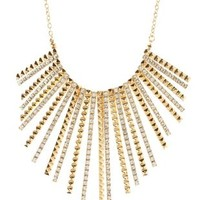Rhinestone & Studded Fringe Statement Necklace