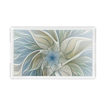 Floral Dream Pattern Abstract Blue Khaki Fractal Serving Tray