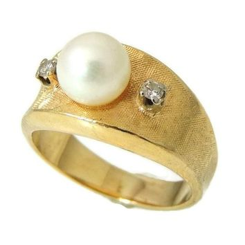 Cultured Pearl 14k Gold Diamond Ring HEAVY Wide Setting 1950s Vintage