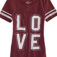 AEO Factory Women's Varsity Graphic T-shirt (Summer Burg