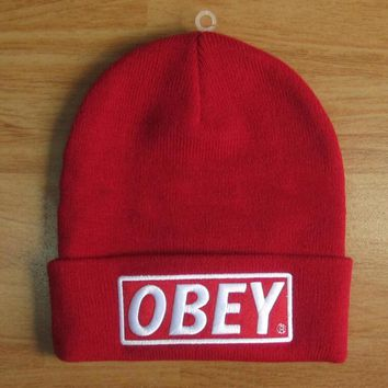 OBEY Hip Hop Women Men Beanies Winter Knit Hat Cap-1