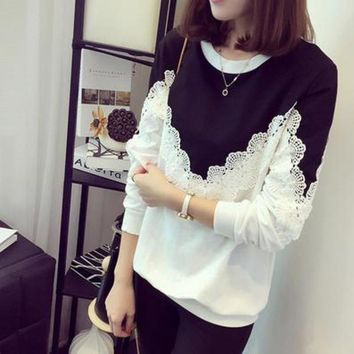 New Brand Apparel Women Hoodies Sweatshirts Autumn Thin White Black Patchwork Crochet Women Long Sleeve Lace Hoodies