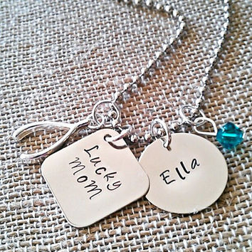 """Hand Stamped """"Lucky Mom"""" Necklace"""
