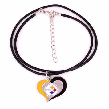 Pittsburgh Steelers Drop shipping Fans collection single-sided enamel Swirl Heart Football Team logo with Leather chain necklace