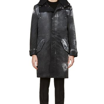 Maison Martin Margiela Black Canvas Coated And Shearling Coat