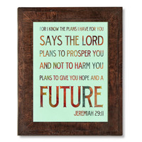 For I Know The Plans For You Bible Scripture Art -  Subway Roll / Typography Art  18X24 - Unframed - Wall Art Decoration - Lha-346-D04