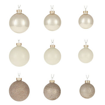 Buy John Lewis Mixed Glass Baubles, Box of 42, Champagne | John Lewis