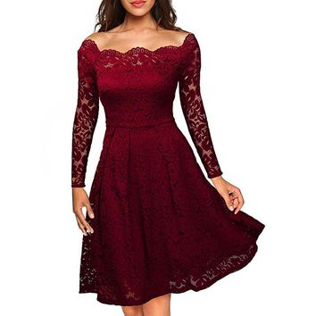 Robe Femme Sexy Vintage Floral Lace Dress Women Elegant Long Sleeve 50s 60s Retro Style Rockabilly Swing Wedding Party Dress