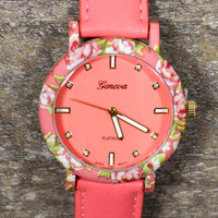 Flowers All Around Watch in Coral