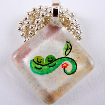 Two Peas Hand Painted Necklace Glass Tile by SunflowerTree on Etsy