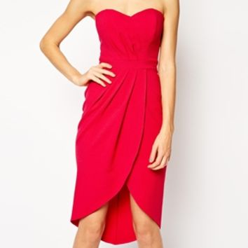 Elise Ryan Bandeau Dress with Tulip Skirt